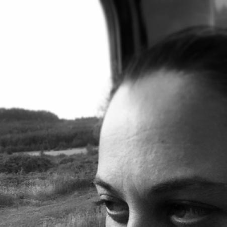 self portrait on a train